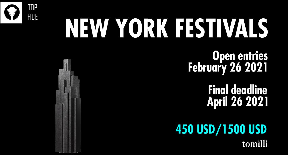 The New York Festivals Advertising Awards ha anunciado las fechas límites de inscripción